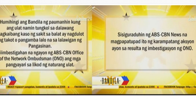 Bandila issued apology statement in regards with their mysterious flesh-eating disease report