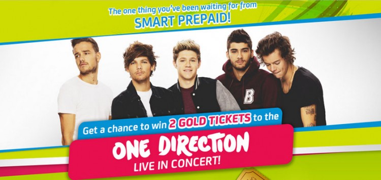 """SMART Prepaid will give away """"Gold Tickets"""" for the One Direction Live in Manila Concert on 2015"""