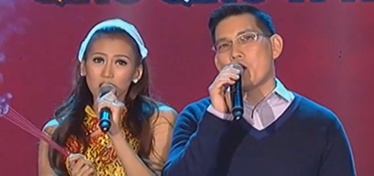 Ser Chief Richard Yap accepts Luis Manzano and Alex Gonzaga's KaraOkey Challenge
