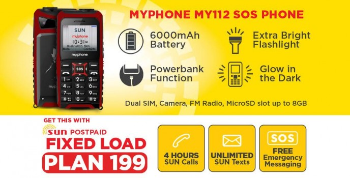 MyPhone My112 the SOS Phone now available under SUN Fixed Load Plan 199