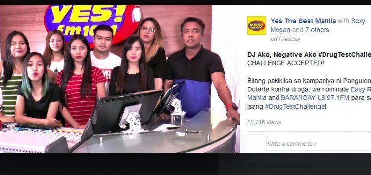 Yes FM DJs challenges Easy Rock and Barangay LS FM to do the #DrugTestChallenge