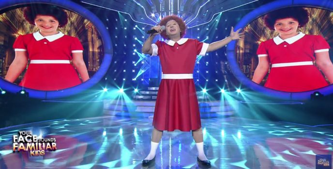 """Singer and songwriter Ogie Alcasid transforms to """"Annie"""" in Your Face Sounds Familiar: Kids"""