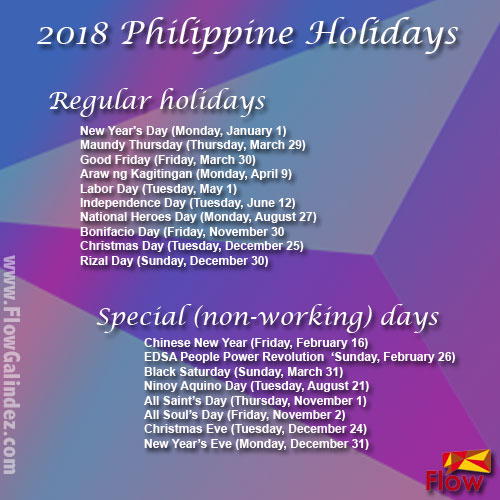 List of 2018 holidays in the Philippines - FlowGalindez.com