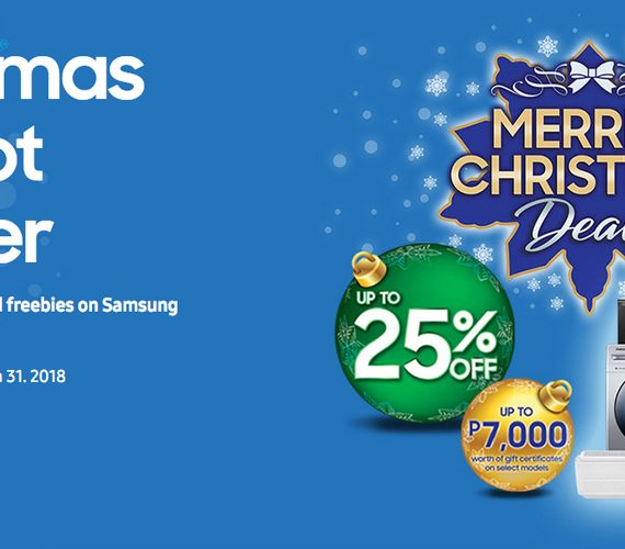 Enjoy up to 25% off and Php 7K worth of freebies in Samsung Digital Appliances Merrier Christmas Deals