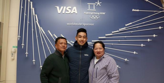 Visa Winner Meets Visa Team Athlete Michael Martinez at the Olympic Winter Games Pyeongchang 2018