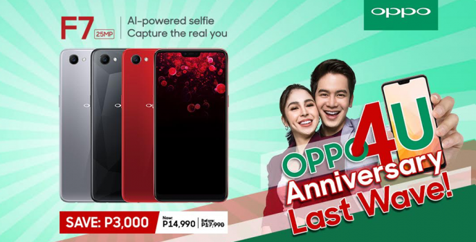 Catch the OPPO4U Anniversary Last Wave with the best-selling OPPO F7 at PHP 14,990